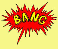 Comics style stamp of bang. Sticker emotion of explode. Colorful bright illustration. Royalty Free Stock Photo