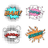 Comics style  stickers set of 4: BAM! OOPS! VROOM! CRUSH! Royalty Free Stock Photography