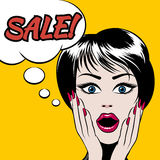 Comics style woman with SALE bubble Stock Photo