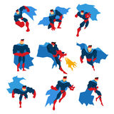 Comics Superhero With Blue Cape In Action Classic Poses Stickers Royalty Free Stock Photos