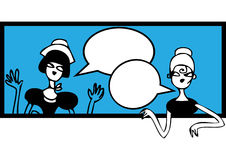 Comics talking doodles banner. Female meeting and talking sticke Stock Photo