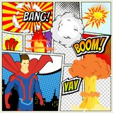 Comics Template. Vector Retro Comic Book Speech Bubbles Illustration. Mock-up of Comic Book Page with place for Text royalty free illustration