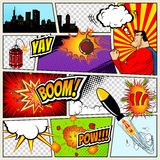 Comics Template. Vector Retro Comic Book Speech Bubbles Illustration. Mock-up of Page with place for Text, Bubbls Stock Photos