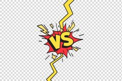 Comics vs frame. Versus lightning ray border, comic fighting duel and fight confrontation isolated cartoon vector vector illustration