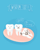 Comics about wisdom tooth, vector. On blue Stock Image