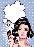 Comicsart-Mädchenfrau Stockfotos