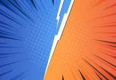 Comicsblitzhintergrund Pop-Art gegen Pfeil, Retro- Entwurf der Heldkampf-Herausforderung, Halbton Vektor GEGEN Blitz stock abbildung