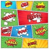 Comicsseite Comic-Buch-Gitterrahmen, lustige oops Bam klatschen Textspracheblasen auf Farbstreifenhintergrund-Vektorplan stock abbildung