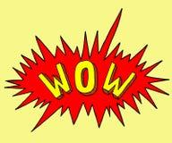 Comicsstempel wow in der Pop-Arten-Art Karikaturaufkleber mit Explosion Symbol des Ausrufs Lizenzfreies Stockbild