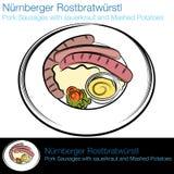 Comida alemana de la salchicha Imagen de archivo