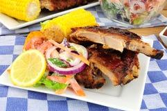 Comida asada a la parilla de las costillas de cerdo Imagen de archivo libre de regalías