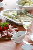 Comida blanca del espárrago Fotografía de archivo libre de regalías