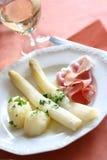 Comida blanca del espárrago Imagen de archivo libre de regalías