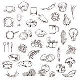 Comida, bosquejos de iconos Imagen de archivo