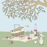 Comida campestre bajo un árbol Fotografía de archivo