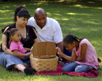 Comida campestre Bi-racial de la familia imagen de archivo