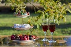 Comida campestre con el vino y los dulces Foto de archivo