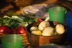 Comida campestre con las patatas Fotos de archivo libres de regalías
