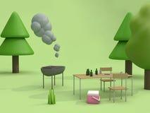 comida campestre de la barbacoa en la representación al aire libre del estilo 3d de la historieta del concepto del verano de los libre illustration