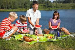 Comida campestre de la familia Imagen de archivo libre de regalías
