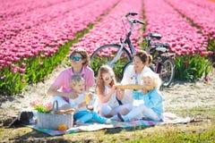 Comida campestre de la familia en el campo de flor del tulipán, Holanda Fotografía de archivo libre de regalías
