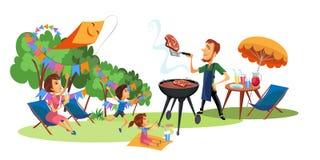 Comida campestre de la familia en el cartel de la yarda ilustración del vector