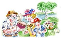 Comida campestre de la familia en la orilla del río stock de ilustración