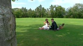 Comida campestre de los recienes casados almacen de metraje de vídeo
