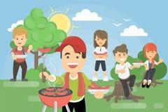 Comida campestre del Bbq en parque ilustración del vector