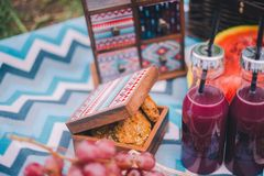 Comida campestre del primer en naturaleza Galletas en una caja, uvas, sand?a y bebidas imagen de archivo