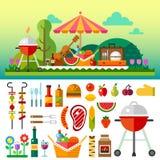 Comida campestre del verano en prado Imagenes de archivo