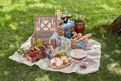 Comida campestre deliciosa separada con la comida y el vino Fotografía de archivo