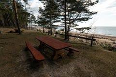 Comida campestre distante hermosa y punto que acampa cerca de un mar Báltico en un bosque del pino con una playa del canto rodad fotos de archivo
