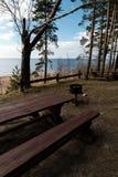 Comida campestre distante hermosa y punto que acampa cerca de un mar Báltico en un bosque del pino con una playa del canto rodad imágenes de archivo libres de regalías