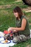 Comida campestre divertida Foto de archivo libre de regalías