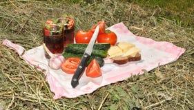 Comida campestre en el heno Imagen de archivo libre de regalías
