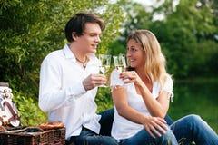 Comida campestre en el lago con el vino Foto de archivo libre de regalías