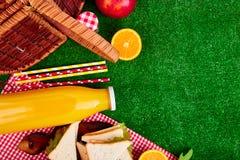 Comida campestre en la hierba fotos de archivo libres de regalías