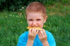 Comida campestre en la hierba. Fotografía de archivo libre de regalías