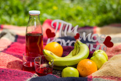Comida campestre en la hierba jugo, fruta, comida campestre en el parque en la hierba Fotos de archivo