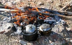Comida campestre en las montañas Imagen de archivo