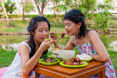 Comida campestre tailandesa asiática de las muchachas junto al lado de pantano Foto de archivo