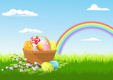 Comida campestre y arco iris de Pascua stock de ilustración