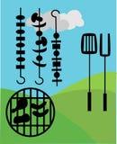 Comida campestre y Bbq afuera Foto de archivo libre de regalías