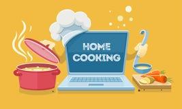 Comida casera que cocina recetas en línea con el ordenador portátil Fotografía de archivo libre de regalías