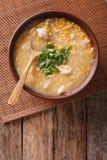 Comida china: sopa del maíz con el primer del pollo y de las cebollas Vertic Fotos de archivo