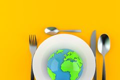 Comida con el globo del mundo ilustración del vector