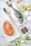 Comida con las grasas Omega-3 foto de archivo