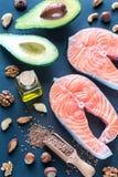 Comida con las grasas Omega-3 imagen de archivo libre de regalías