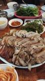 Comida coreana, trotones guisados Jokbal del cerdo imágenes de archivo libres de regalías
